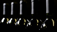 Selective Focus on Six Bottles of Red Wine Stock Footage