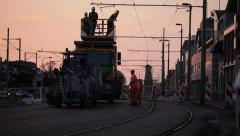 Rail construction workers Stock Footage