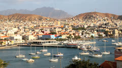 View over the Port city of Mindelo Cape Verde archipelago - stock footage
