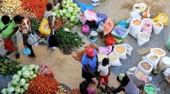 African market street vendors Cape Verde Islands Stock Footage