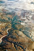 Aerial of rocky mountains over montana state Stock Photos