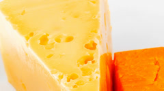 fresh dairy product : gourmet cheese triangles - stock footage