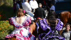 Girls Riders in Andalusian pilgrimage or romeria, Spain Stock Footage