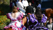 Stock Video Footage of Girls Riders in Andalusian pilgrimage or romeria, Spain