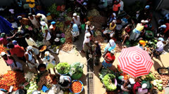 African street market vendors Cape Verde Islands Stock Footage