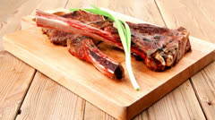 Meat savory : roasted beef ribs Stock Footage