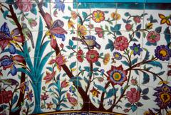 floral mosaic on madrese-e khan - stock photo