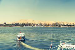 Waterscape at Nile near Luxor in Egypt - stock photo