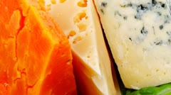 soft feta cheese with aged delicatessen cheeses - stock footage
