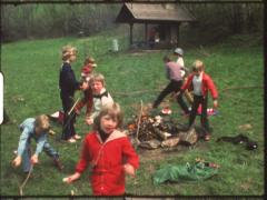 Barbecue with children (Vintage 8 mm amateur film) Stock Footage