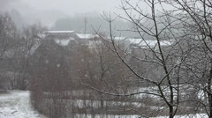 Snowfall and foggy weather Stock Footage