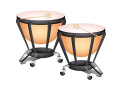 Two Beautiful Classical Timpani on White Background - stock illustration