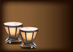 Beautiful Classical Timpanis on Dark Brown Background - stock illustration