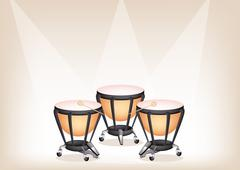 Beautiful Classical Timpanis on Brown Stage Background - stock illustration