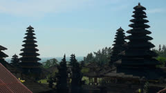 Temple tops of hindu mother temple Besakih at Bali Stock Footage