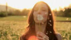 Pretty Girl Model Blowing Dandelion Laughing on a Summer Field HD Stock Footage