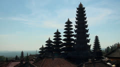 Temple top silhouettes of hindu mother temple Besakih at Bali Stock Footage