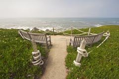 Ocean-view benches at point montara state park, california Stock Photos