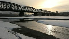 Stock Video Footage of Rail Bridge, Fraser River, Prince George