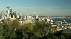Seattle Skyline, Mount Rainier, Elliott Bay Stock Footage