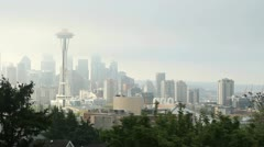 Space Needle Seattle, Morning Fog - stock footage
