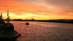 Sunrise Departure, Steveston Crab Boat Stock Footage