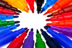 Tips of multicolored felt pens Stock Photos