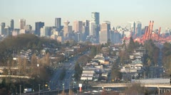 Vancouver Skyline Dawn Stock Footage