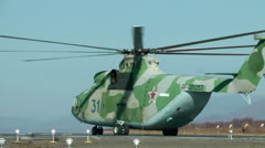 The military of MI-26 prepares for take-off and performance of the task Stock Footage
