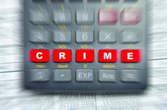 Conceptual photo of a calculator with the word crime writen on it. Stock Photos