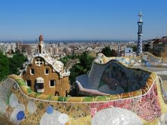 Barcelona: park guell, the famous and beautiful park designed by antoni gaudi Stock Photos