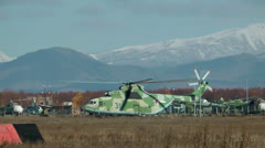 MI-26 the universal and biggest serial helicopter in the world - stock footage