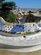 barcelona: main entrance to parc guell, the famous and beautiful park designe - stock photo