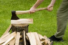axe with firewood - stock photo