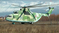 The biggest cargo serial helicopter in the world of MI-26 goes for take-off - stock footage