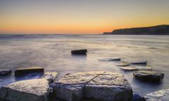 Winter sunset kimmeridge jurassic coast. Stock Photos