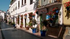 Street scene in Spanish white village Stock Footage