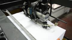 Hd crane shot, offset printing press machine closeup Stock Footage