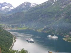 Cruise ships in Geirangerfjord in Norway - stock photo