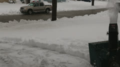 Snow blower driveway from left side angle Stock Footage