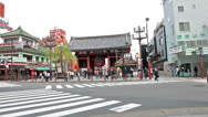 Stock Video Footage of Camera zoom in of Red Kaminarimon gate in Senso-ji shrine, Tokyo, Japan