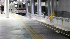 Underground train arrival to metro station in Tokyo, Japan Stock Footage