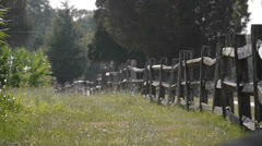 Wooden fence line at a farm Stock Footage