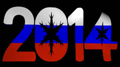 2014 text with rippling Russian flag animation Stock Footage