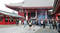 Senso-ji temple main hall with red massive paper lantern, Asakusa, Tokyo, Japan HD Footage