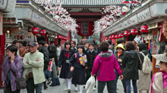 Stock Video Footage of The Nakamise-dori is a street with gift shops, Asakusa, Tokyo, Japan