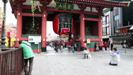 Stock Video Footage of Red massive paper lantern on Kaminarimon gate, Asakusa, Tokyo, Japan
