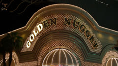 Close Up of Golden Nugget Casino-Hotel Sign, Las Vegas Stock Footage