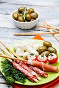 delicatessen appetizers - stock photo