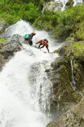Waterfall Descent By Professional Canyoning Instructors - stock photo